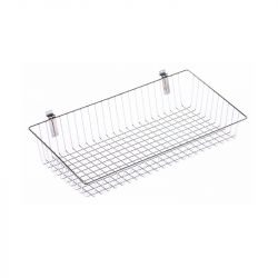 610mm Metal Basket For Slatted Wall Chrome