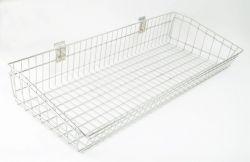 987mm Wide Dump Basket For Slatted Panels - Chrome Plated