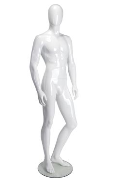 Standing Male Mannequin Fixed Position - White Glossy