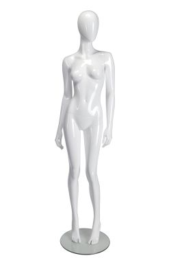 Female Mannequin Slanted Pose - White Glossy