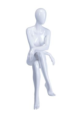 Sitting Female Mannequin - White Glossy
