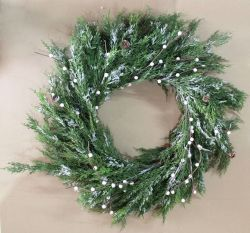 Christmas Wreath with Snowdrops and Snow - 86cm