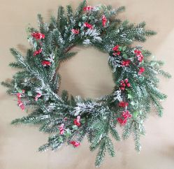 Christmas Wreath with Berries and Snow - 72cm