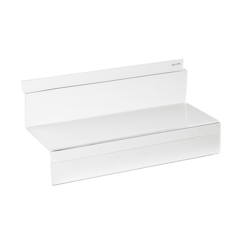 HB1002023 - Acrylic Shoe Shelf With Ticket Strip 250mm X 100mm for Slatwall