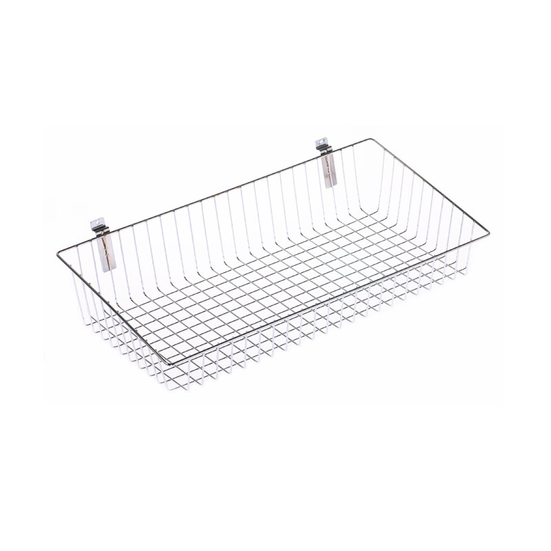 HB1001622 - 610mm Metal Basket For Slatted Wall Chrome