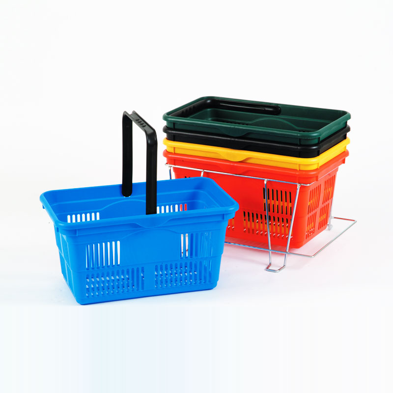 PLASTIC SHOPPING BASKET 380MM - BLACK