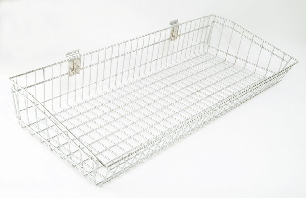 HB1004257 - 987mm Wide Dump Basket For Slatted Panels - Chrome Plated