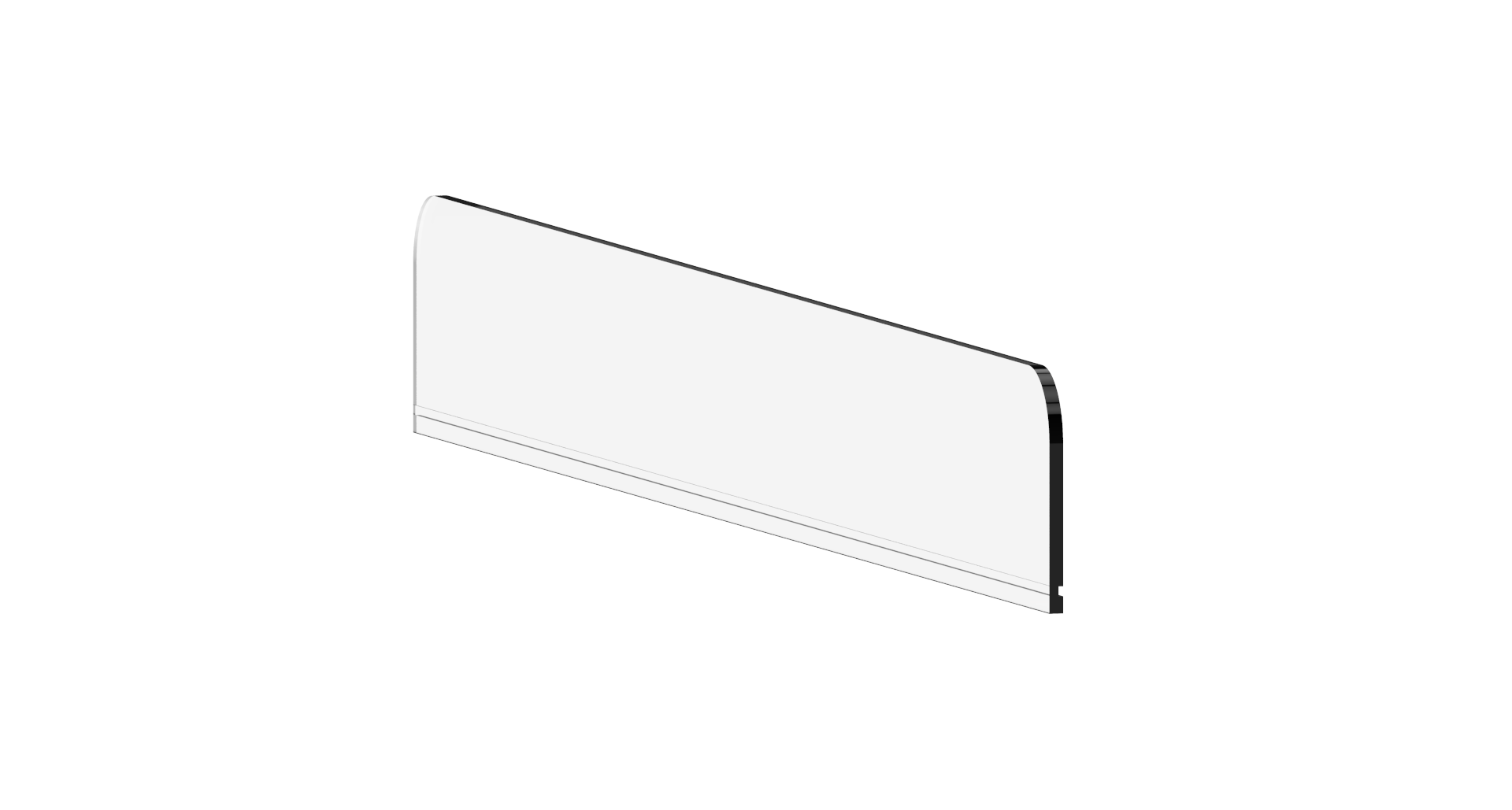 Acrylic Frontretainer, 1300mmL x 110mmH 50mm back