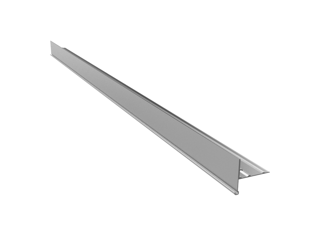 4041-XAS - Aluminium Front Rail WITHOUT Slot for PMMA Retainer
