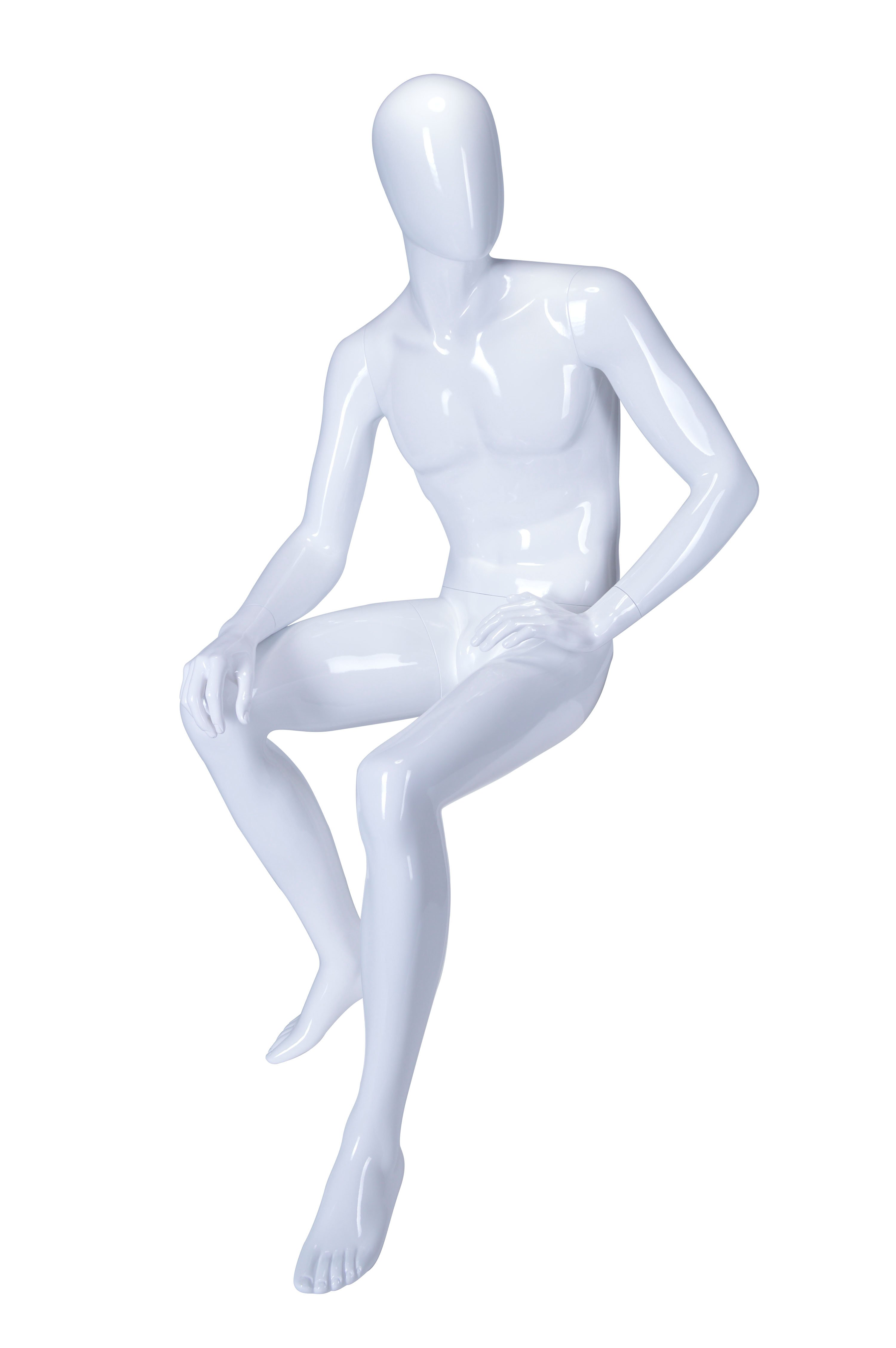 HBO-AR05 - Sitting Male Mannequin Fixed Position - White Glossy