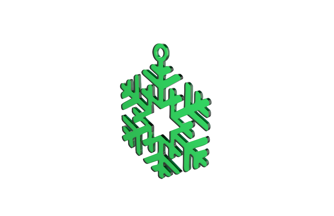Xmas Snow Flake Green Decoration