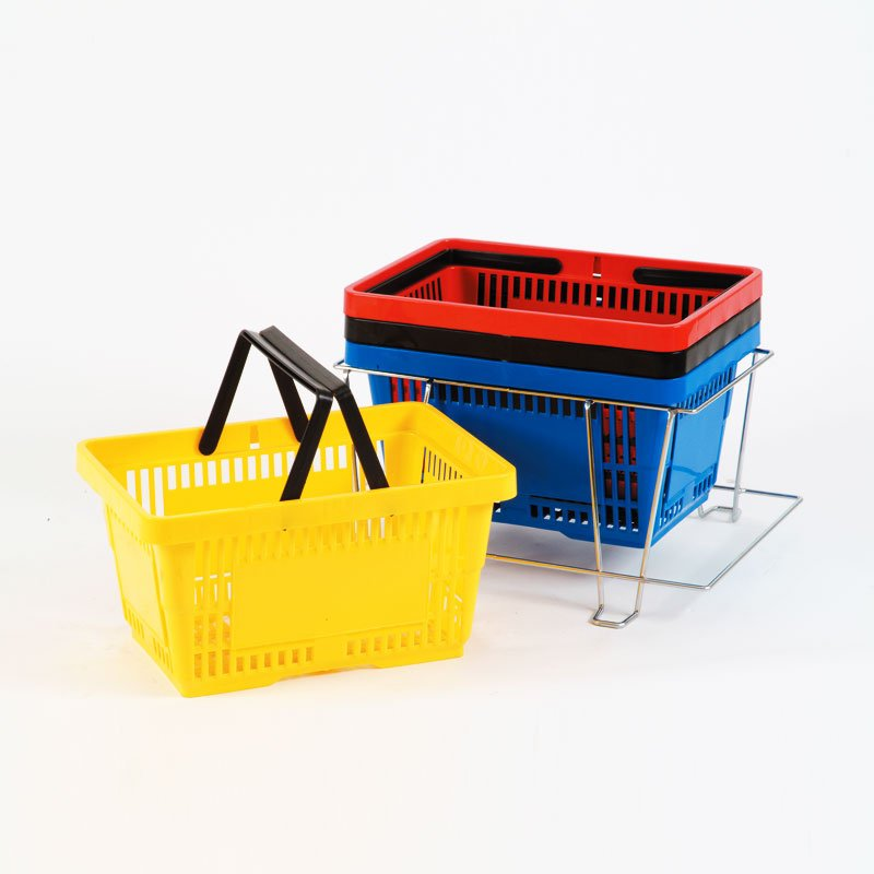Twin Handle Plastic Shopping Basket 270mm - Green