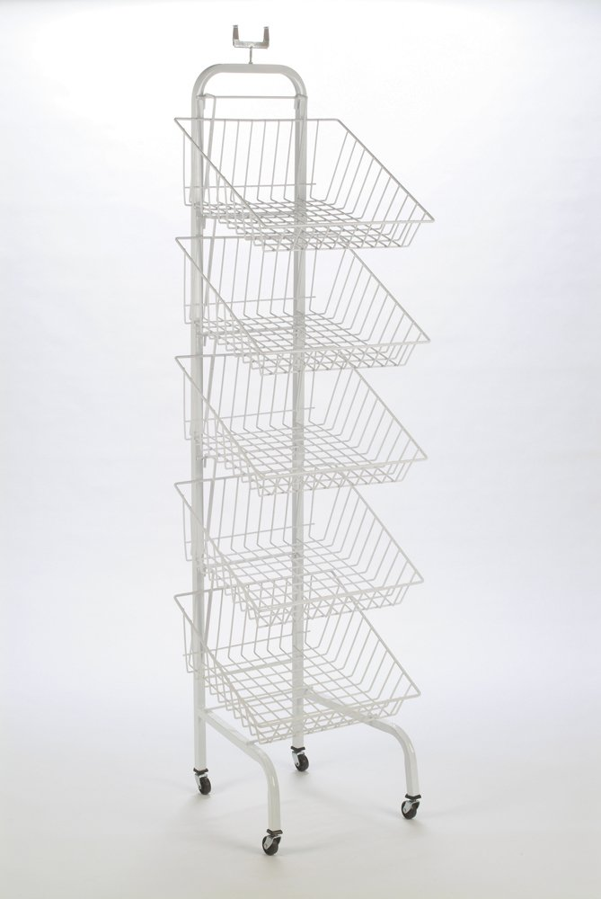 5 Tier Basket Stand Dispenser - White Coated