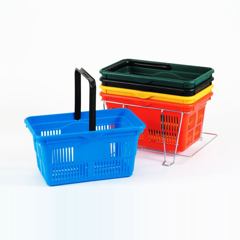 PSB-1BK - Single handle shopping basket 380MM - Black
