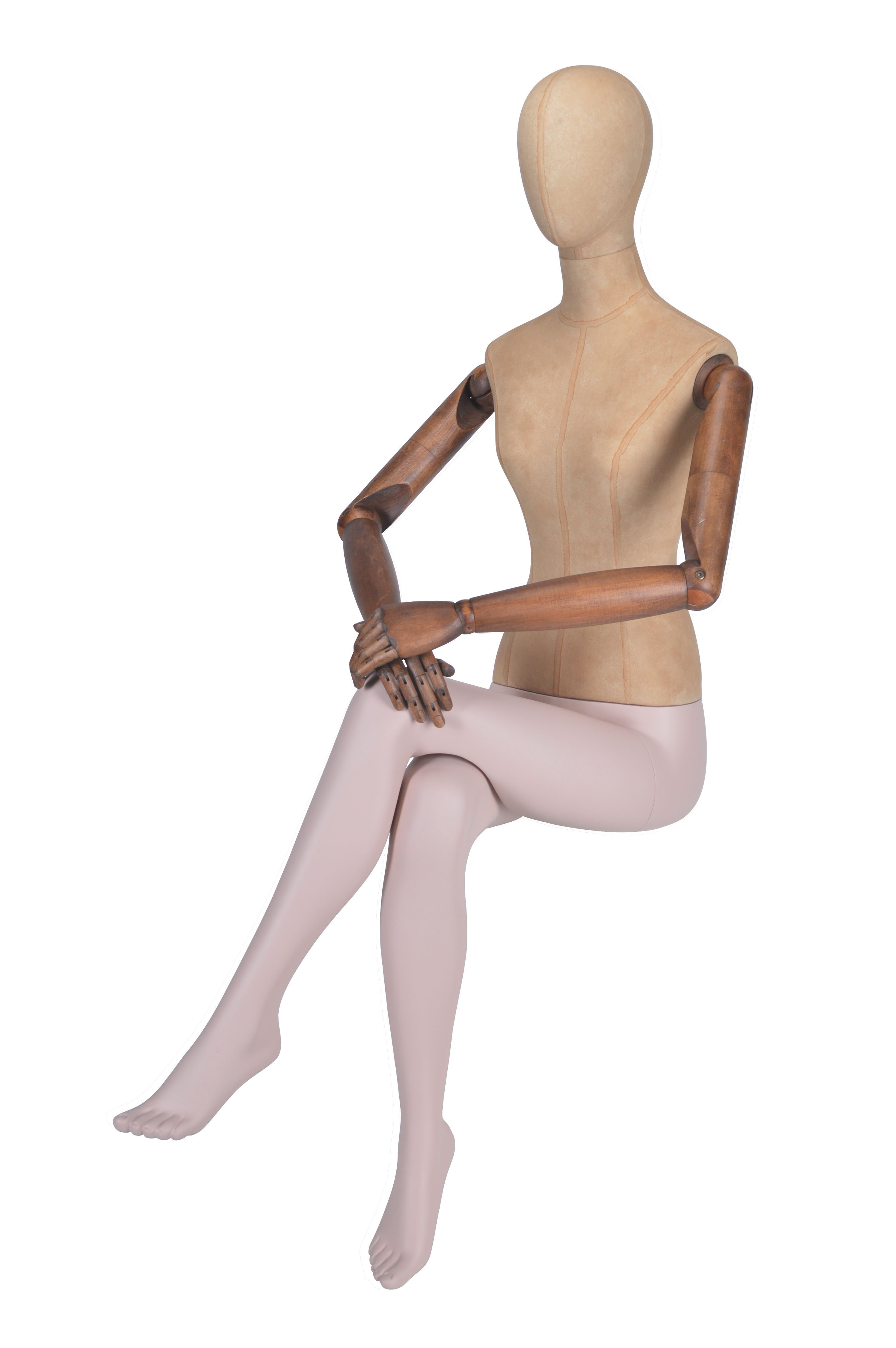 HB1002237 - Sitting Female Mannequin - Crossed legged and Moveable Arms