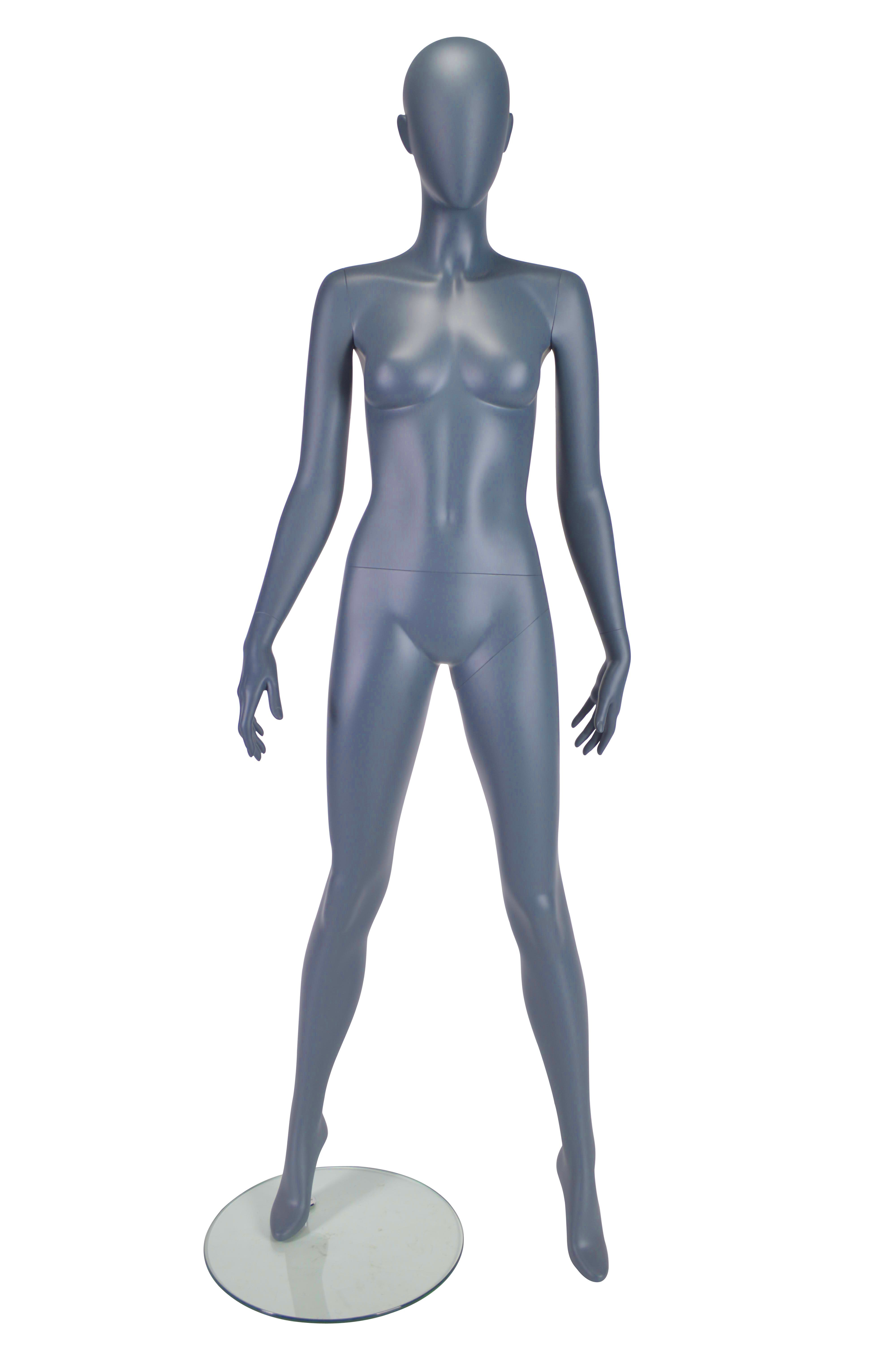 HB1002178 - Female Mannequin Hands by Side - Matt Grey