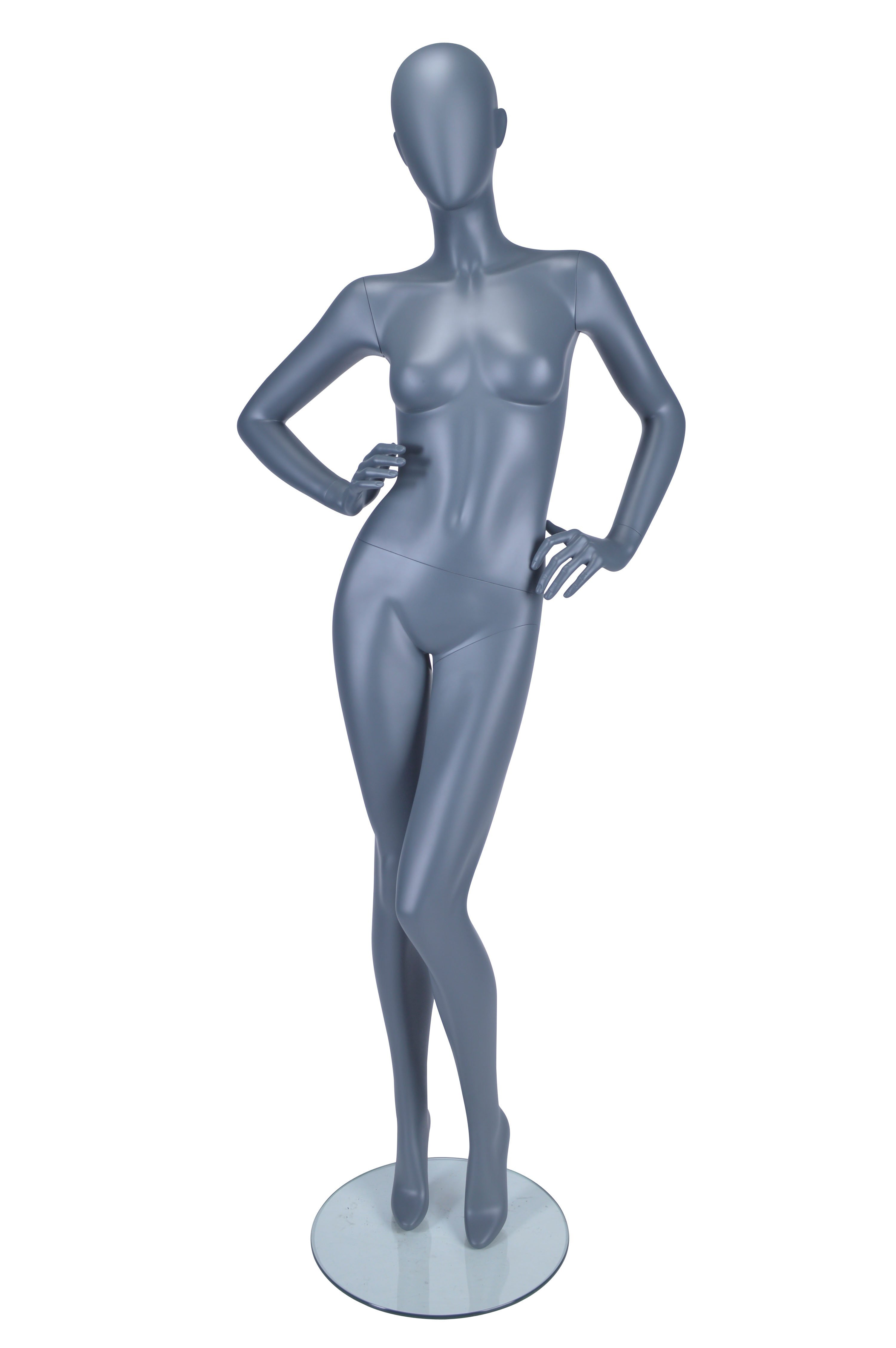 HB1002179 - Female Mannequin Slanted Pose, Hands on Hips - Matt Grey
