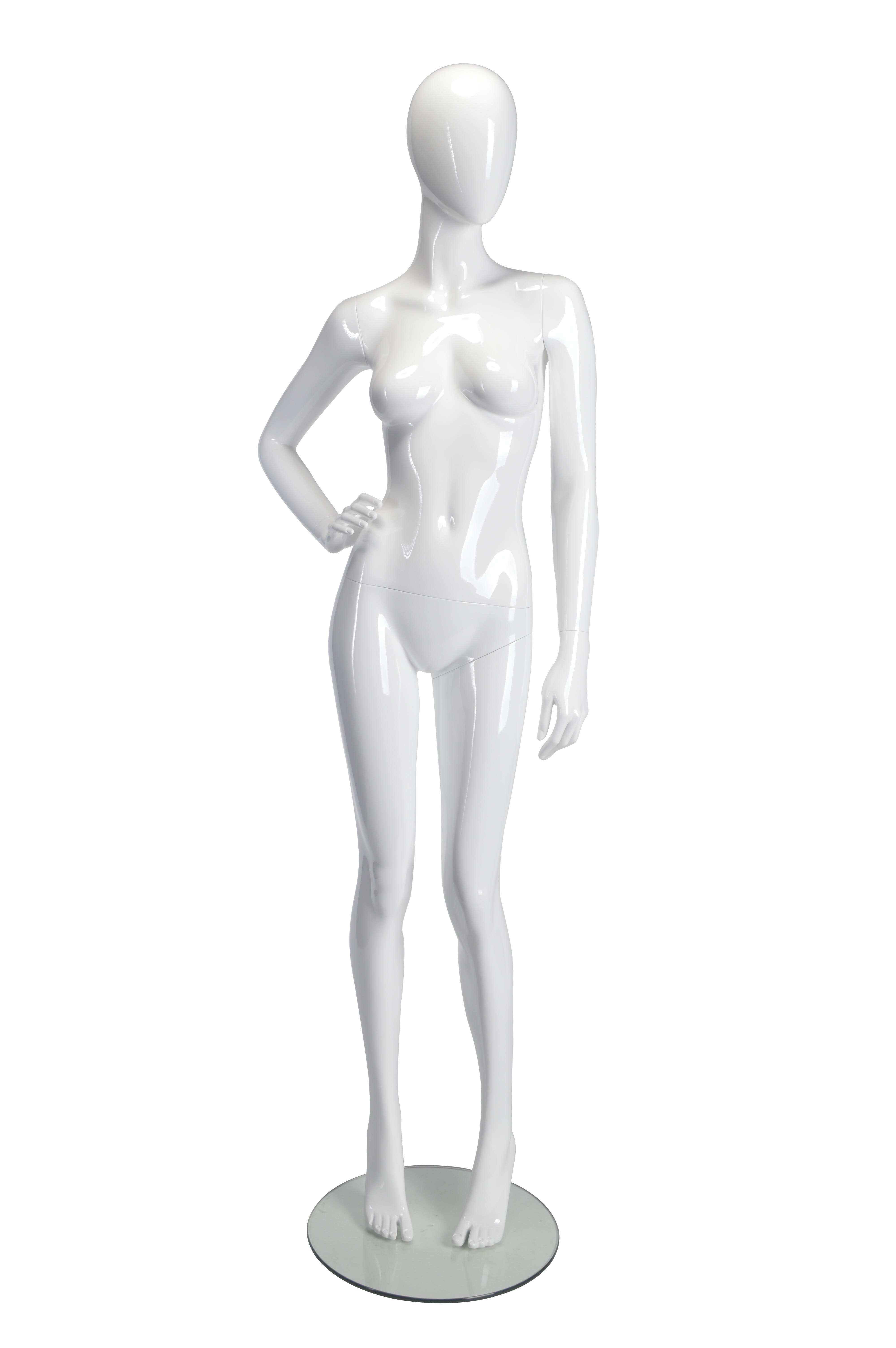 HBO-ABI53 - Female Mannequin Hand on right hip - White Glossy